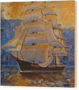 Tall Ship In The Sunset Wood Print