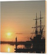 Tall Ship Lady Washington At Dawn Wood Print by Mike Coverdale