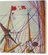 Tall Ship Lines Wood Print