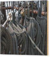 Tall Ship Lines V Wood Print