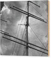 Tall Ship Masts Wood Print by Robert Ullmann