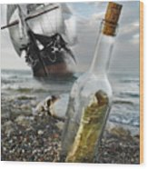 Tall Ship Message In A Bottle Wood Print