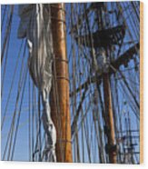 Tall Ship Rigging Lady Washington Wood Print by Garry Gay