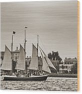 Tall Ship Schooner Pride Off The Historic Charleston Battery Wood Print by Dustin K Ryan
