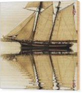 Tall Ship Sepia  Wood Print