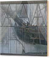 Tall Ship Through A Window Wood Print