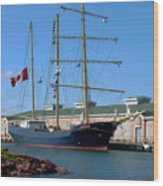 Tall Ship Waiting Wood Print