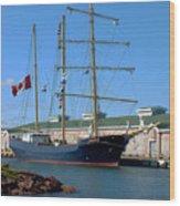Tall Ship Waiting Wood Print
