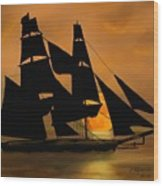 Tall Ship With A Harvest Moon Wood Print