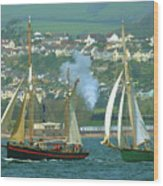 Tall Ships And Steam Trains Wood Print