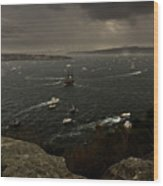 Tall Ships Heavy Rain And Wind In Sydney Harbour Wood Print