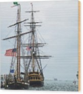 Tall Ships Hms Bounty And Privateer Lynx At Peanut Island Florida Wood Print