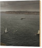 Tall Ships In The Entrance Of Sydney Harbour Wood Print