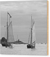Tall Ships Sailing I In Black And White Wood Print