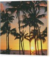 Tall Sunset Palms Wood Print