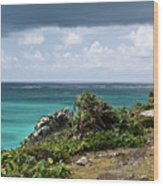 Talum Ruins Mexico Ocean View Wood Print