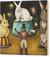 Taming Of The Giant Bunnies Wood Print