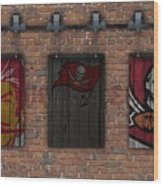 Tampa Bay Buccaneers Brick Wall Wood Print