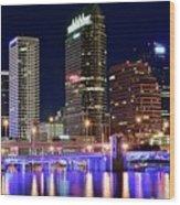 Tampa Bay Pano Lights Wood Print