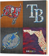 Tampa Bay Sports Fan Recycled Vintage Florida License Plate Art Bucs Rays Lightning Plus State Map Wood Print