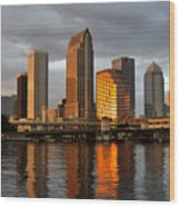 Tampa In Reflection Wood Print