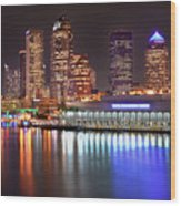 Tampa Skyline At Night Early Evening Wood Print