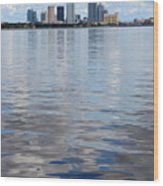 Tampa Skyline Over The Bay Wood Print