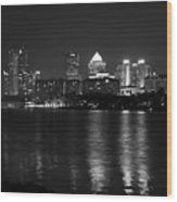 Tampa Skyline South Black And White Wood Print