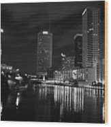 Tampa Skyline West Night Black And White Wood Print