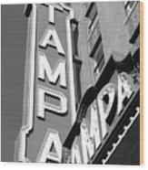 Tampa Theatre Bw Wood Print
