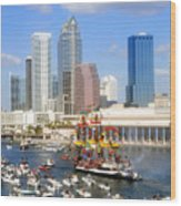 Tampa's Flag Ship Wood Print by David Lee Thompson