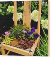 Tan Chair Planter Wood Print