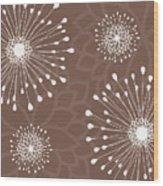 Tan Floral Wood Print