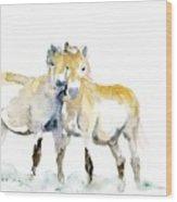 Tan Horses Wood Print