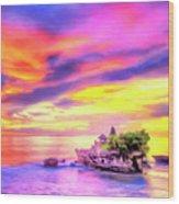 Tanah Lot Temple Sunset Bali Wood Print