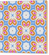 Tangerine And Sky Floral Pattern- Art By Linda Woods Wood Print