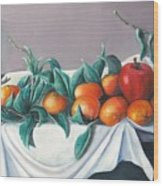 Tangerines And Apples Wood Print