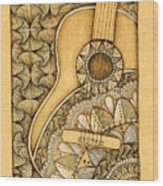 Tangle Guitar Wood Print
