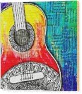 Tangle Guitar No 4 Wood Print