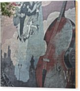 Tango And The Double Bass Wood Print