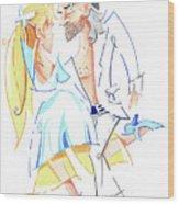 Tango Nuevo - Gancho Step - Dancing Illustration Wood Print