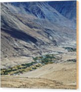 Tangsey Village Landscape Of Leh Ladakh Jammu And Kashmir India Wood Print