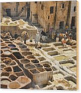 Tanneries Of Fes Morroco Wood Print
