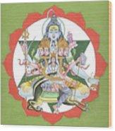 Tantrik Diagram Of Lord Shiva, Mantra Yantra ,indian Miniature Painting, Watercolor Artwork, India Wood Print