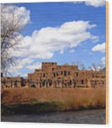Taos Pueblo Early Spring Wood Print