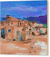 Taos Pueblo Village Wood Print by Elise Palmigiani