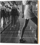 Tap Dancing Class In The Gymnasium Wood Print by Everett