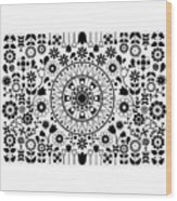 Tapiz Flores Black And White Wood Print