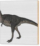 Tarbosaurus Dinosaur Roaring, White Wood Print