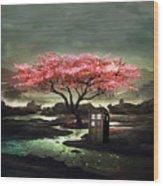 Tardis Blossom Wood Print
